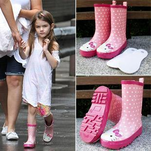 retail! children girls leather ankle boots children shoes kids rain boots hello Kitty shoes Authentic boots(China (Mainland))