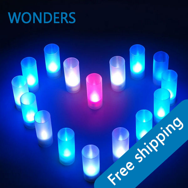 10 pieces/lot LED Blow On-Off Candle, rgb color changing LED Light Candle Lamps with Cup Free shipping(China (Mainland))