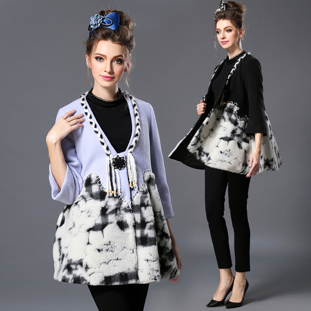 V шеи три четверти длинными рукавами , платья-линии шерсть зимнее пальто с Tussle ...