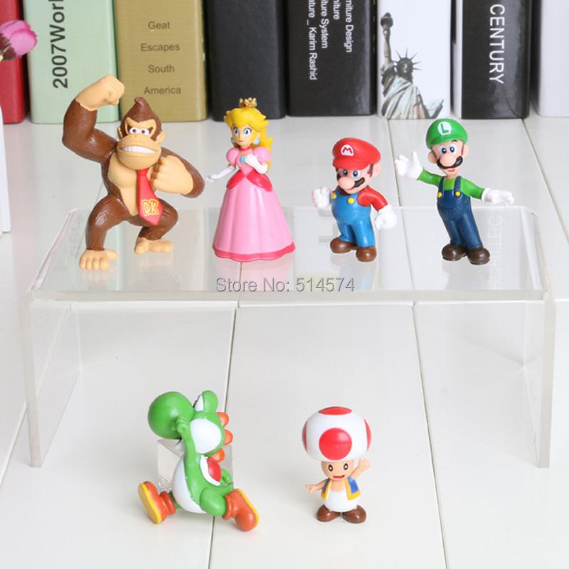 High Quality 2int PVC Super Mario Bros Luigi donkey kong Action Figures 6pcs/set youshi mario Gift OPP retail(China (Mainland))