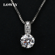 LOWAY Simple Fashion Jewelry Platinum Plated Round Shape 2 Carat Cubic Zirconia Pendant Necklace for Women