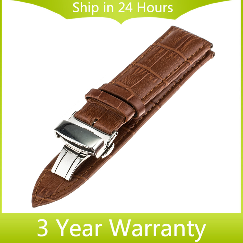 22mm Genuine Leather Watchband Butterfly Buckle for Pebble Time / Steel <font><b>Asus</b></font> Zenwatch 1 2 22mm <font><b>Smart</b></font> <font><b>Watch</b></font> Band Bracelet Strap