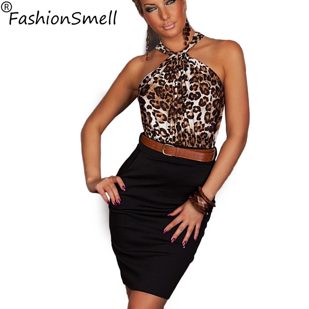 2015 New Fashion Women Sexy Leopard Dress Print Pattern Halter Casual Stretch Bodycon Mini Dress With Belt Hollow Back(China (Mainland))