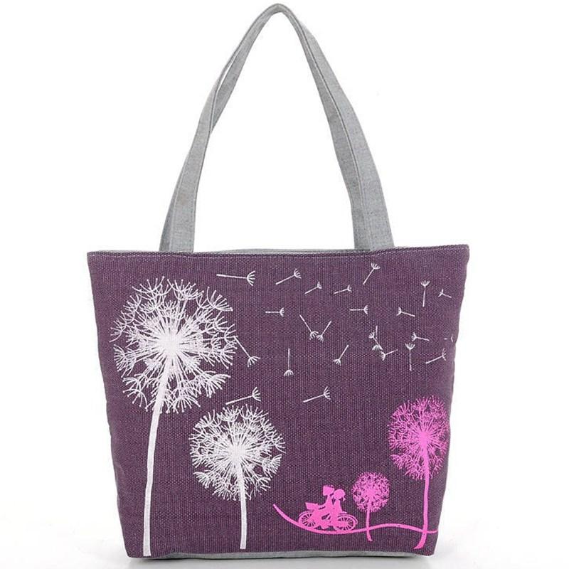 Canvas Women Casual Tote Designer Lady Large Bag Fashion dandelion Handbags Bolsas shopping bag New Women's Shoulder Bags M7-353(China (Mainland))