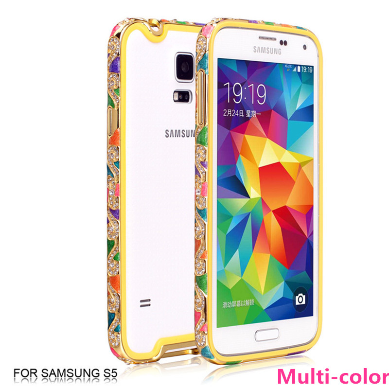Diamond Bumper Frame for S5 China National Style Rhinestone Case Bling Metal Aluminum Bumper Frame For Samsung Galaxy S5 i9600(China (Mainland))