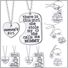 2016 New (There is a girl she stole my heart) Silver Necklace Vintage Family Necklaces Pendants Fashion Women Jewelry NBK269(China (Mainland))