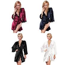Sexy Women Robe Satin Sleepwear Bathrobe Lingerie Ladies Lace Nightgown Sleepwear with Belt(China (Mainland))