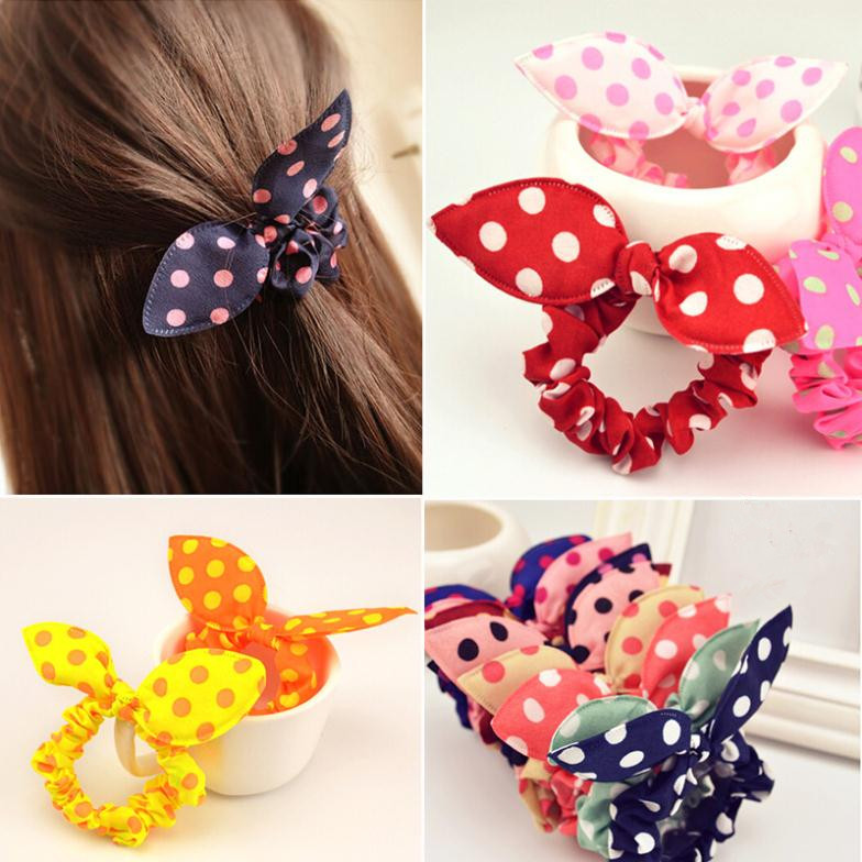 1 PCS New Fashion Hair Band Polka Dot Hair Rope Accessories Bow Tie Hair Accessory Rabbit Ears Hair Tie Drop Shipping(China (Mainland))