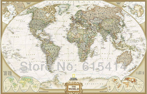 04 National Geographic Map of the World 37''x24'' inch wall Poster with Tracking Number