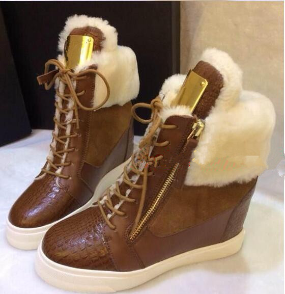 brown black double zipper lace up height increasing ankle boots ankle thick fur design winter boots crocodile shoes woman(China (Mainland))