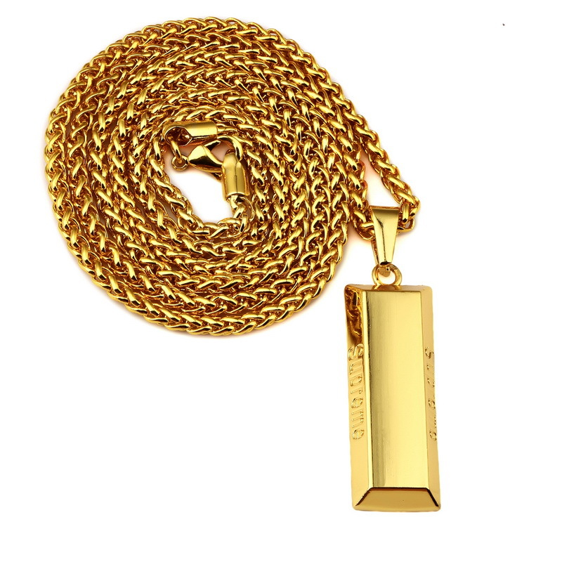 SUPREME Star Necklace 18K Yellow Gold Plated Smooth Bullion Golden Bar Pendant Necklace Male Hip Hop Jewelry(China (Mainland))