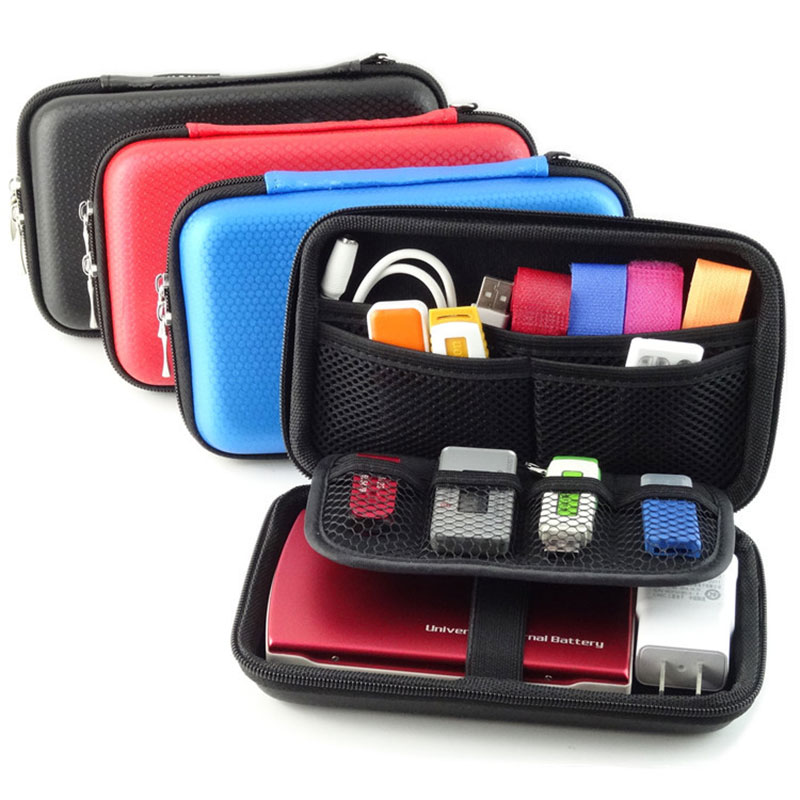 2.5/'/' Digital Storage Bag Hard Drive Case Cover USB Data Cable Organizer Pouch