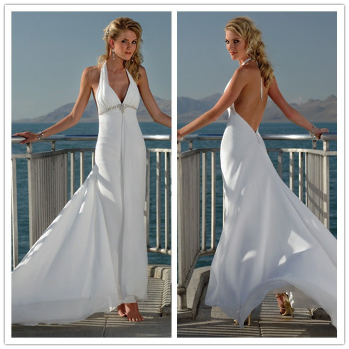 Halter beach wedding dresses gown and dress gallery for Halter wedding dresses beach