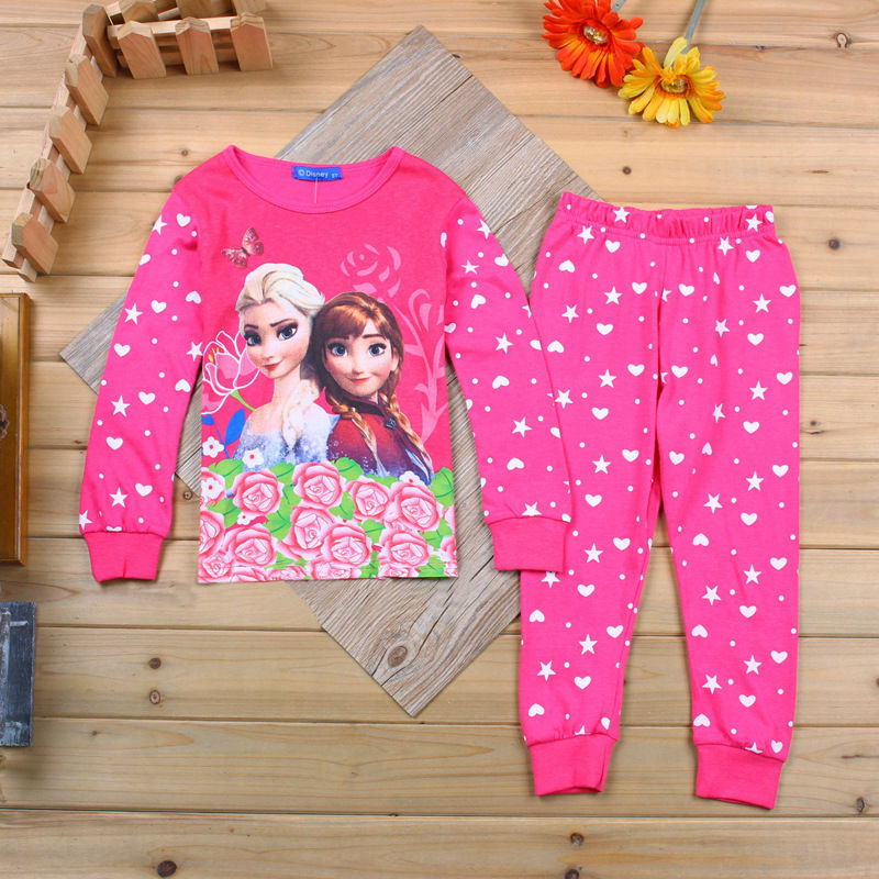 kids girl anna elsa sleepwear home clothes set long sleeve tops + pants 2 piece home children's wear 2015 pring autumn style(China (Mainland))