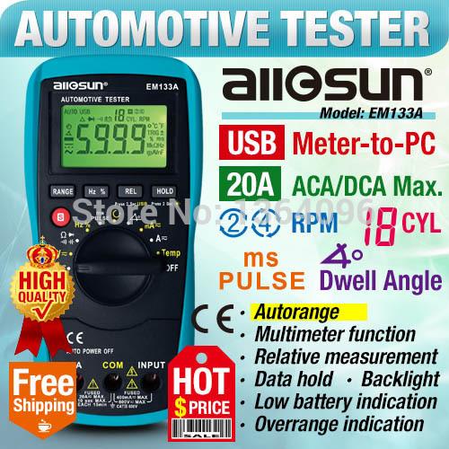 all-sun EM133A Digital Automotive Multimeter Autoranging Automotive Scanner Automotive Electrical Tester RPM Meter to PC(China (Mainland))