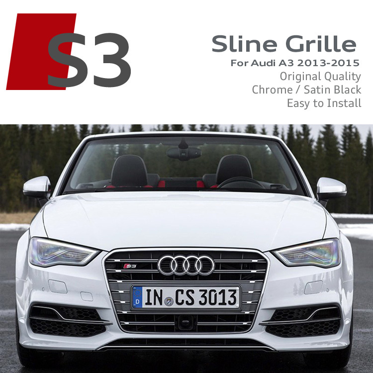 Matt Grey/Satin Black S3 Front Grille ABS Car Bumper Grilles RS Sline S line Race Bumper Grills For Audi A3 2013 2014 2015 New(China (Mainland))