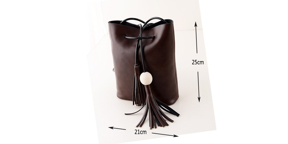 Vintage Tassel Fringe White Ball Bucket Bag For Women Female Messenger Bag Shoulder Bag String Casual Quality Leather New 2014 dimension drawing