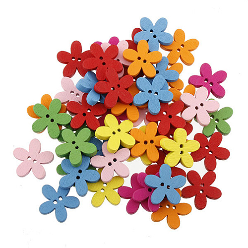 2015 New 100pcs Colorful Flower Flatback DIY Wooden Buttons Sewing Craft Scrapbooking New 1OHI 4VHT(China (Mainland))