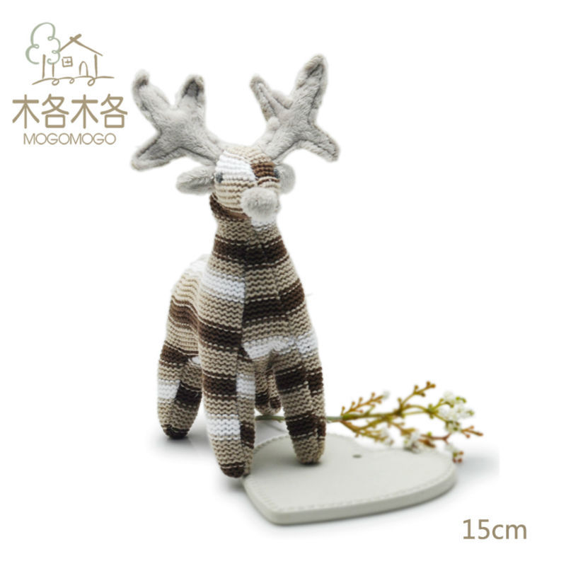15 cm cute stuffed deer doll,100% cotton knit Eco material, plush toys for kid&babies, for birthday party gifts EN71 CE Reach(China (Mainland))