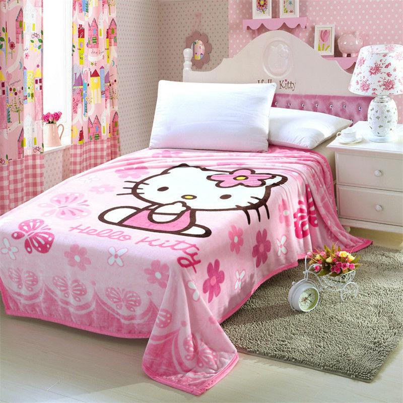 Aliexpress.com : Buy Hello Kitty Cartoon Anime Flannel Fabric Plush ...