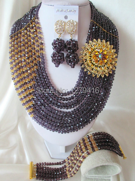 Fashion Nigerian African Wedding Beads Jewelry Set , Crystal Necklace Bracelet Earrings Set C140<br><br>Aliexpress