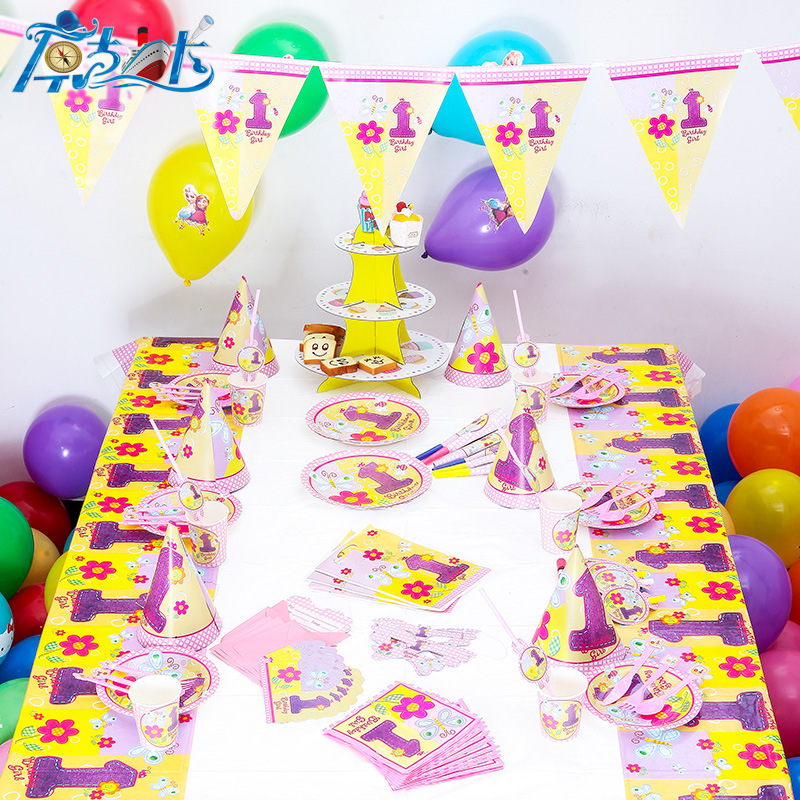 92pcs set 12 people 1 year girl birthday party decoration for Decoration stuff