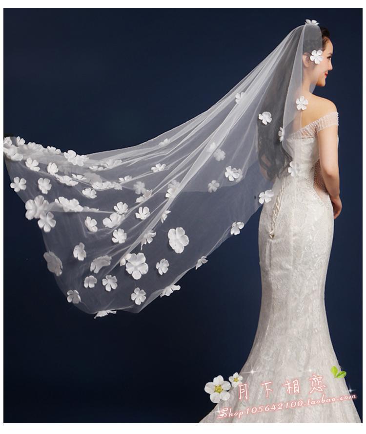 veu de noiva longo 2016 White Ivory Cheap In Stock 1.5 meters Wedding Veil Wedding Accessories Lace Bridal Veil Handmade Flower(China (Mainland))