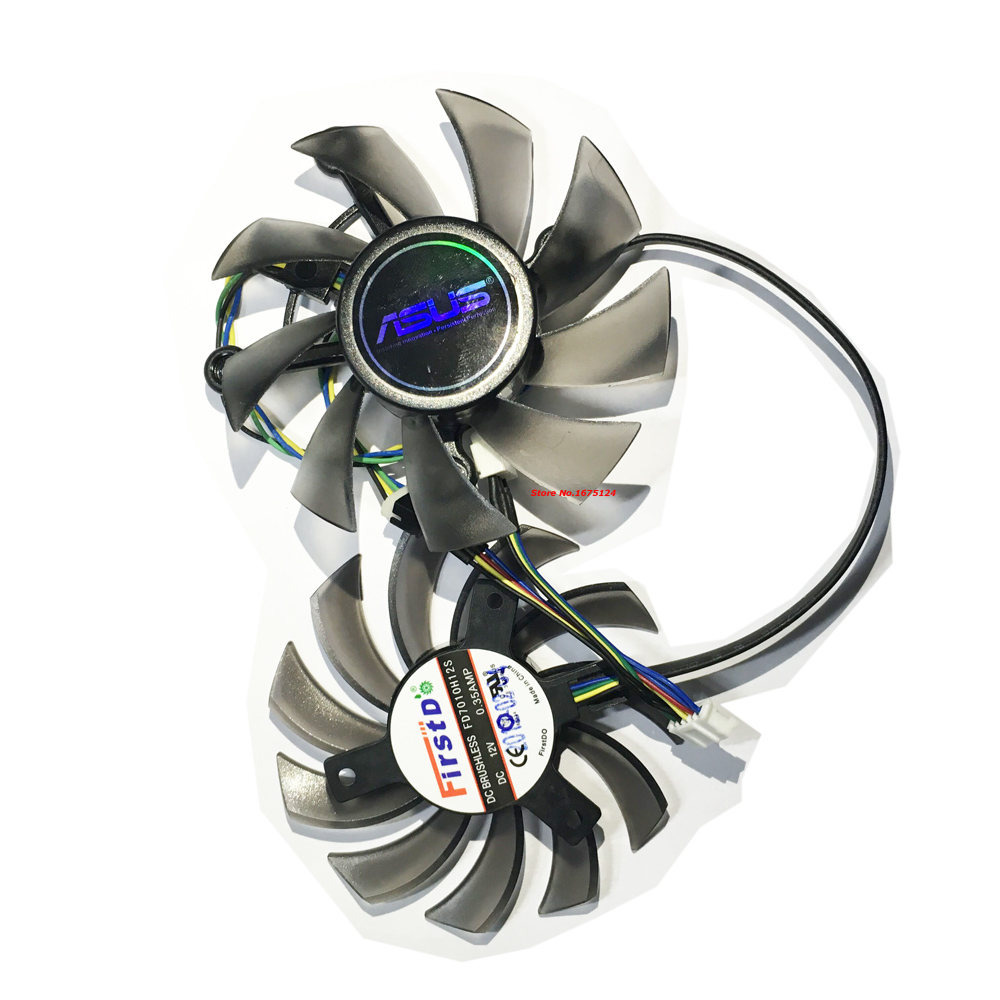 2Pcs/lot Firstd 75mm Cooling Fan PC Cooler 12V For ASUS GTX680 GTX 680 VGA Card (FD8015U12S+FD7010H12S)(China (Mainland))