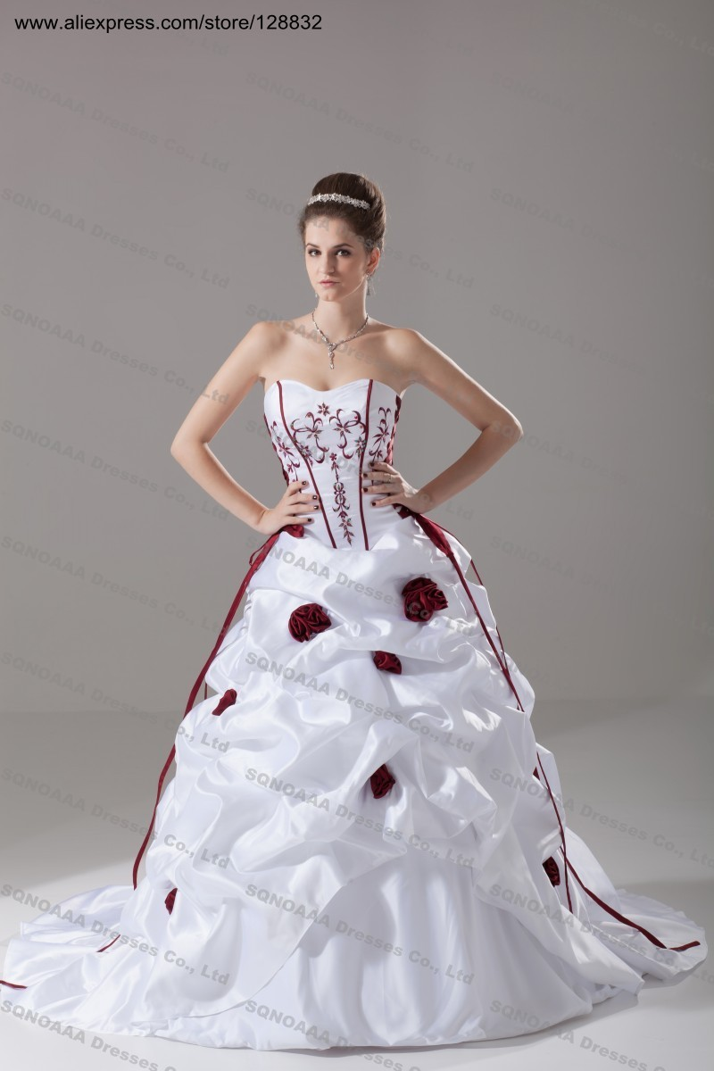 Plus size wedding dress burgundy embroidery ivory white for White or ivory wedding dress