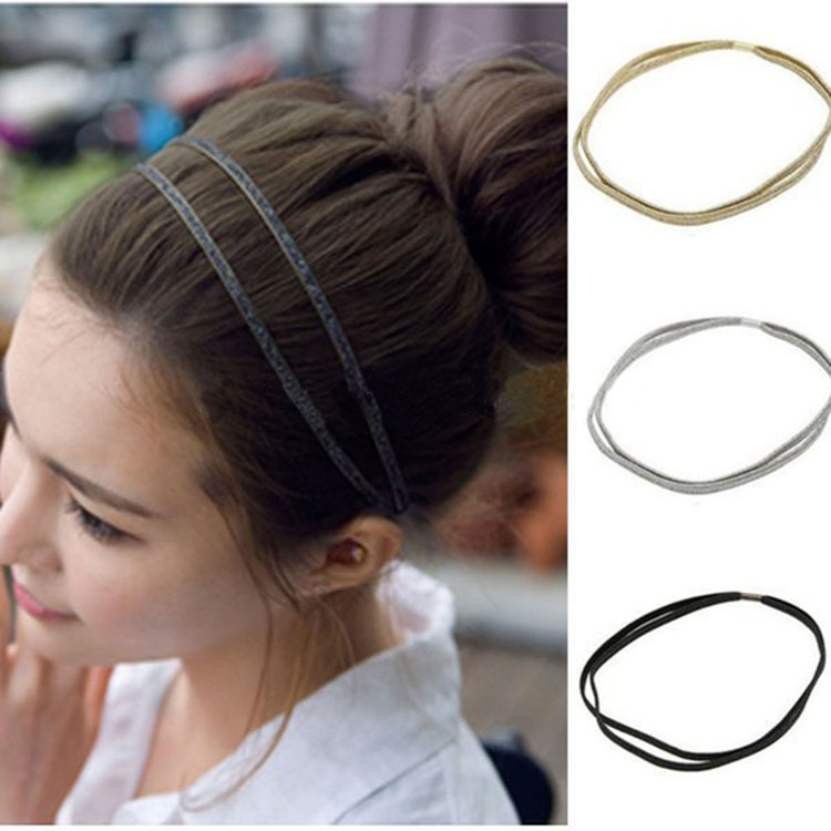 Newest 1PC Hot Girls Fashion Leather Woven Lovely Elastic Double Hair Band Tiara Hair Accessories Women Accessories freeshipping(China (Mainland))