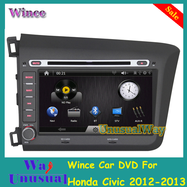 New Arrival 8 inch car radio dvd for Civic 2012-2013 for Honda with GPS BT RDS USB SD Steering Wheel Control Free Shipping(China (Mainland))