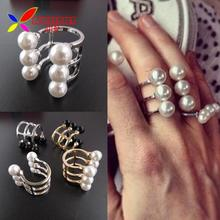 2014 Latest Hot Fashion Gold Silver Alloy 6 faux Pearl beaded designer finger rings for women bagues ensemble bijoux anillos(China (Mainland))