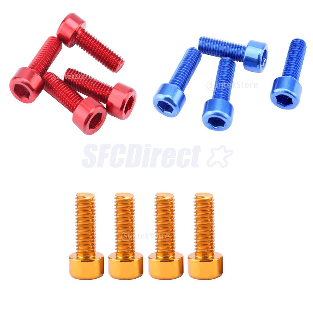 Gold Black Silver Anodised Red Blue. Aluminium M5 Bottle Cage Bolts Green