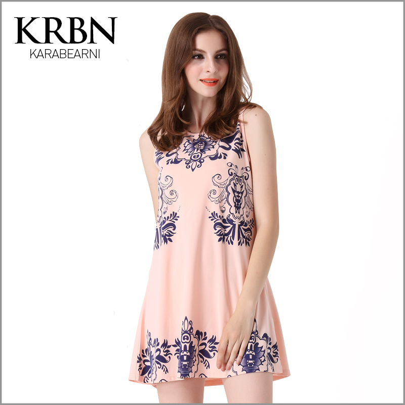 ladies summer dress 2015 Party Dresses print sleeveless Women Dress Casual straight pink mini t shirt dress A1053(China (Mainland))