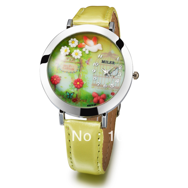 Free shipping Korean personality arts round dial yellow leather watch for female students MINi exquisite Quartz watches<br><br>Aliexpress