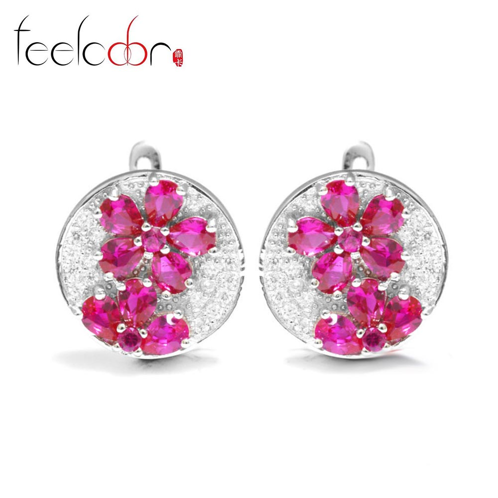 3.42ct Pigeon Blood Red Ruby Clip Earrings Wedding Set Solid 925 Sterling Solid Silver