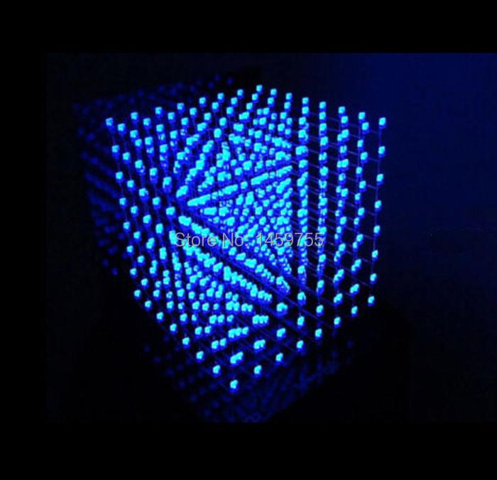 3D LightSquared 8x8x8 LED Cube White 3mm blue Ray DIY Kit
