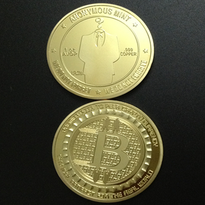 Sample order 2 pcs 24k Bitcoin gold plated souvenir coin 1oz Bitcoin coin Casascius BTC 1 Physical Bit Coins(China (Mainland))
