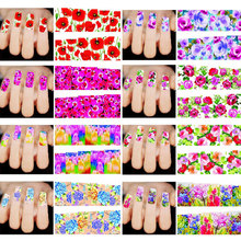 Fashion Charm 50pcs Mixed Flowers Nail Art Decals Water Transfer Tips Stickers Decoration Manicure Beauty(China (Mainland))