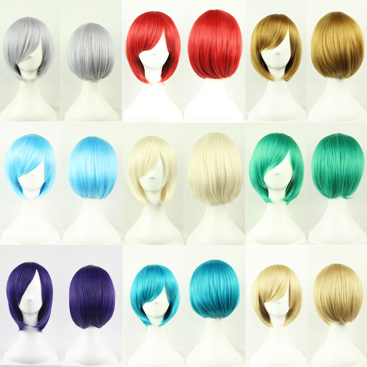2015 Direct Selling Promotion Anime Cosplay Fashion Cosplay Wigs Full Womens Wig Short Straight Hair Classic Party(China (Mainland))
