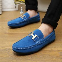 2016 recién llegado de Casual zapatos para hombre de cuero nobuck moda Slip On Driving zapatos perezosos hombres zapatos mocasines mocasines negro azul hombres pisos(China (Mainland))