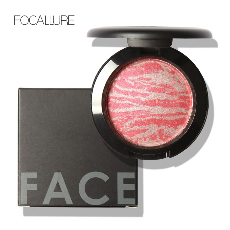Top Quality Professional Cheek 6 Colors Makeup Baked Blush Bronzer Blusher With Brush by Focallure(China (Mainland))