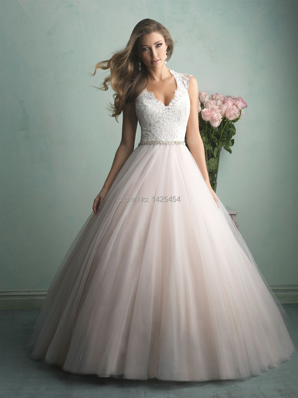 designer lace ball gown wedding dress « Bella Forte Glass Studio