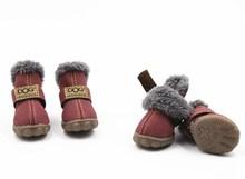 4pcs Chaussures Chien Animaux Chaussures Chien _ Toile Perméable À L'air Glissement Ours En Peluche, 5, Orange