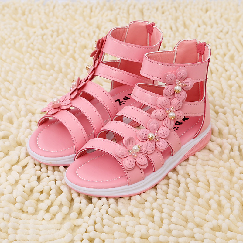 2016 summer Children Kids shoes for Girls flower gladiator sandals princess Wedding Shoes Dress Shoes Party Shoes For Girls 217(China (Mainland))
