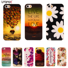 For iphone SE Flower Cartoon Pattern Rubber TPU Soft Cover For Apple iphone 5/5S Mobile Phone Protective Case For iPhone5 5S(China (Mainland))