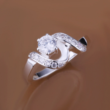 Free Shipping silver plated Jewelry Ring Fine Fashion Silver Plated Zircon Women&Men Finger Ring Top Quality SMTR158(China (Mainland))