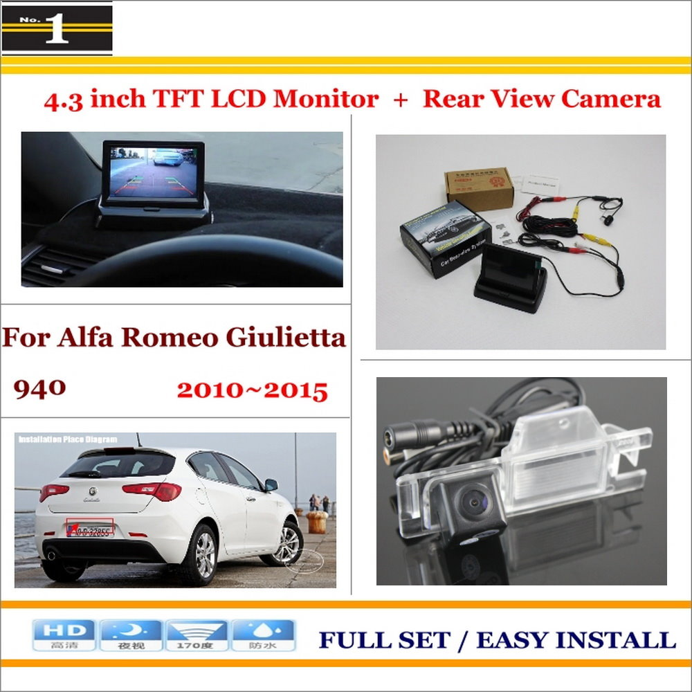 "Car Parking Camera + 4.3"" LCD Monitor NTSC PAL = 2 in 1 Parking Rearview System - For Alfa Romeo Giulietta 940 2010~2015(China (Mainland))"