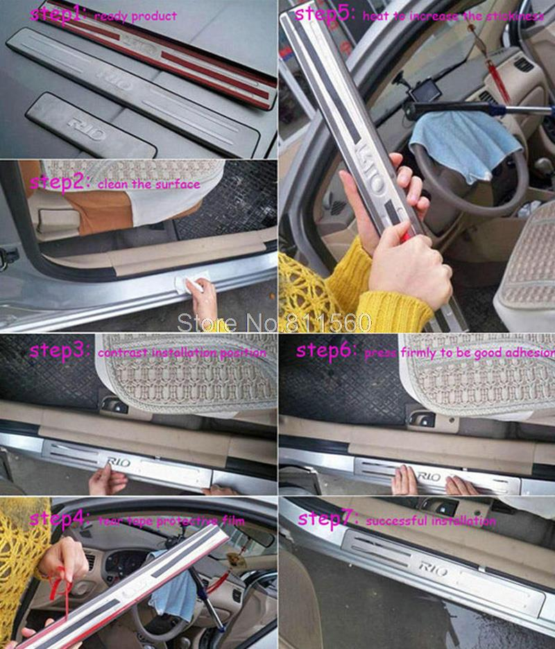 For Ford Focus 2 2007 2008 2009 2010 2011 Stainless Steel Door Sill Scuff Plate cover interior moulding frame pedals