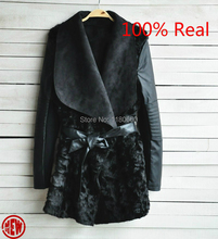 New Hot! 2014 European and American Fashion Winter Fur Coat Women Slim Outerwear Long sleeve PU Leather Jackets Women Coat Black